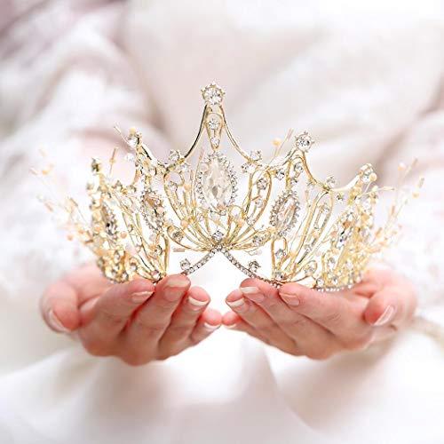 Unicra Bride Wedding Crown y Tiara Costume Rhinestones Gold Queen Crown para mujeres y niñas