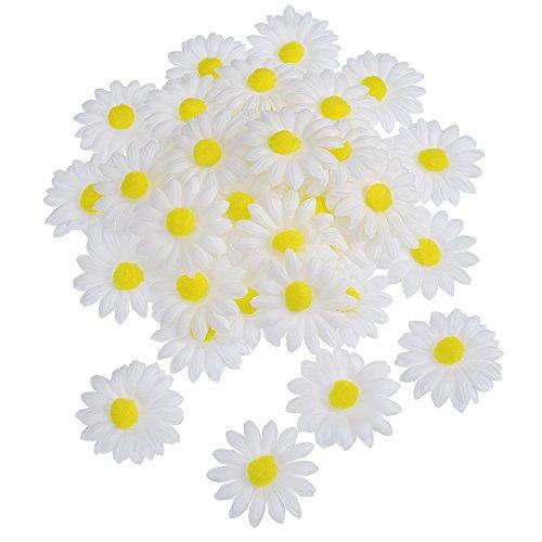 WILLBOND 50 Piezas de Flor de Margaritas de Tela para Decoración Manualidad Capo de Pascua, Flores...