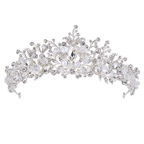 Her-Zii Corona de Boda de Tiara de Cristal Hecha a Mano de 2 '' Corona de Tiara Dorada para Novia