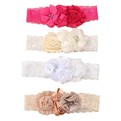 Lurrose 4 Unids Rosa Flor Encaje Cintas Para el Cabello Cinta Suave Turbante Bautizo Cabeza Wrap con...