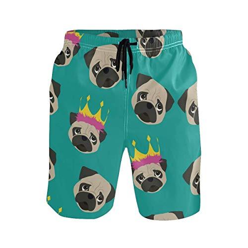 kslae Dibujos Animados Lindo Perro Pug con Corona Traje de baño para Hombres Boy Pantalones Cortos...