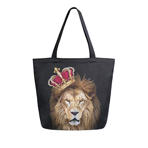 Mnsruu - Bolso de Mano para Mujer con diseño de Corona de león, Reutilizable, para IR de Compras,...