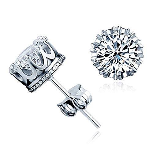 WJkuku - Pendientes con pasador de plata de ley 925, unisex, diseño de corona, con cristal...