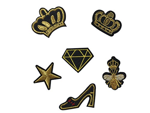 Parche para ropa (6 unidades), diseño de corona, abeja y estrella, color dorado y negro