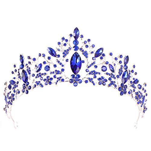 Lurrose Corona barroca encantadora Rhinestone princesa reina nupcial diademas tiara para boda fiesta...