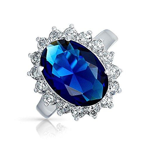 Bling Jewelry 6Ct Azul Real Safiro Simulado Ovalado Zirconio Cúbico CZ Corona Halo para Mujer...