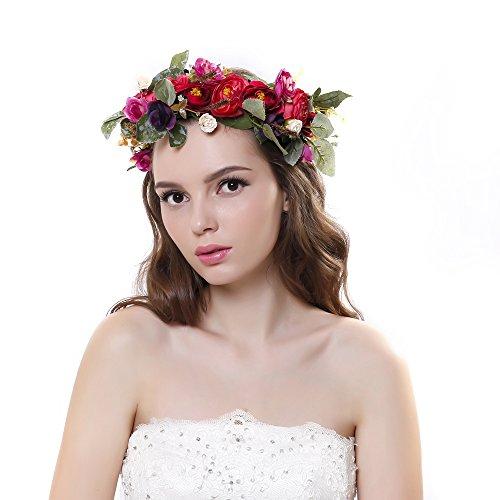 Cinta para el cabello Ever Fairy® de corona de flores, ajustable, para mujer o niñas rosso Taille...