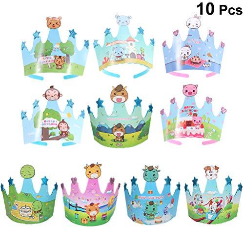 Toyvian 10 unids cumpleaños niños Casquillo de la Corona Animales de Dibujos Animados celebración...