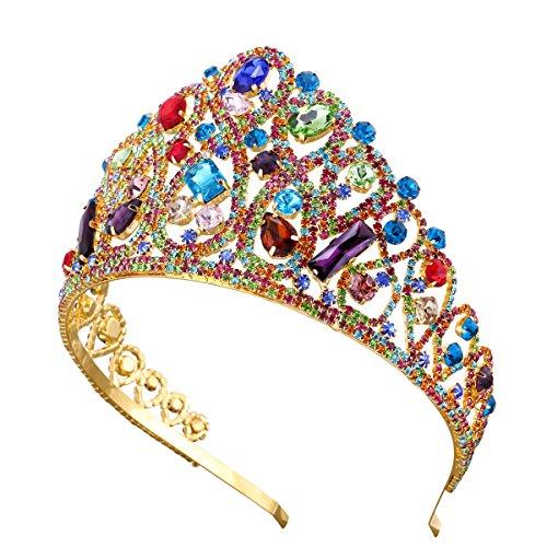 Santfe Tiara de corona de cristal dorado para boda de 3.1 pulgadas
