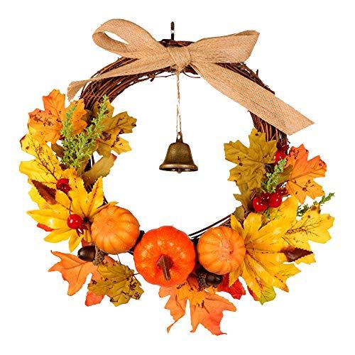 ZQEU GZQ Halloween Calabaza Regalo Colgante Ornamento Rattan Berry Maple Leaf Otoño Puerta Corona...