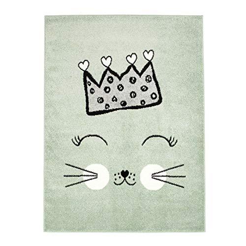 MyShop24h Alfombra infantil de pelo plano, para habitación de los niños, con gato y corona en...