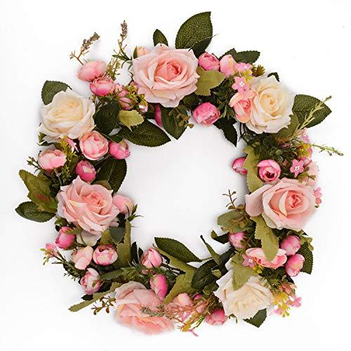 Asvert 30cm / 12in Rose Flower Wreath Guirnalda Floral Rosa Hecha a Mano para la Puerta de la Puerta...