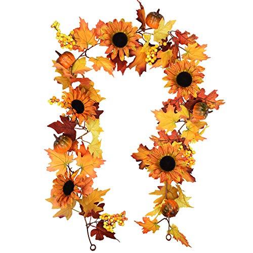 6 pies Artificial Maple Leaf Berries Sunflower Pumpkin Garland Hanging Vine Decoration Autumn Fall...