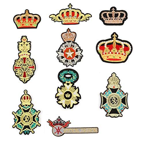 Bella 10pcs Parch Apliques Patches Sticker Parche Termoadhesivo Militar Estilo Corona Bordado Iron...