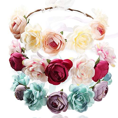 REKYO 3pcs Flor Hecha a Mano Diadema Corona Floral, Novia Corona Boda Halo Guirnalda Floral Bandas...