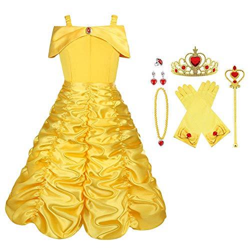 Vicloon Disfraz de Princesa Belle Vestido y Accesorios para Niñas, Corona Anillo Sceptre Collar...