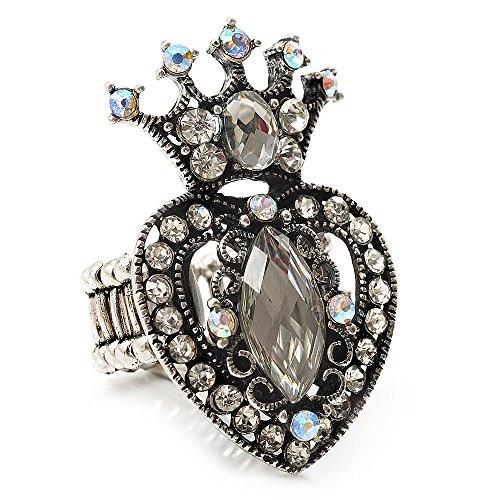 Avalaya Burn - Anillo elástico con corona de cristal y corazón