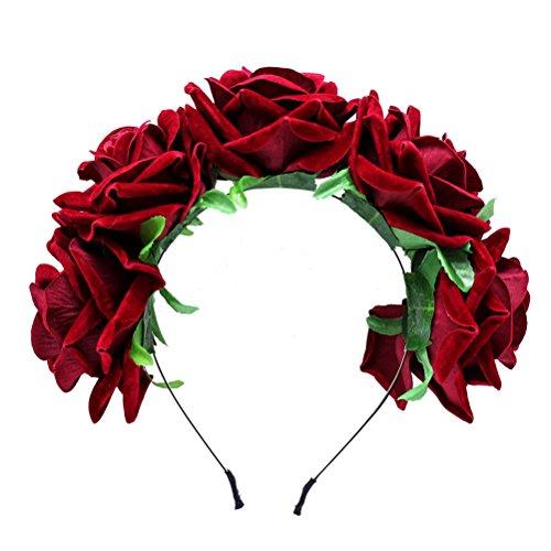 Frcolor Diadema de flores de color rosa corona coronas de pelo tocado para el banquete de boda...