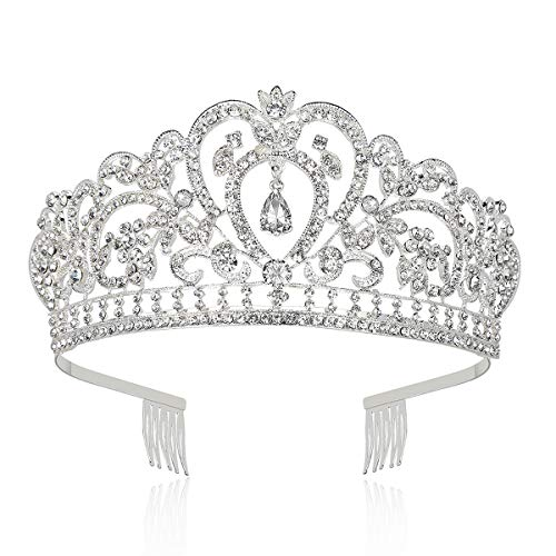 Makone Tiara Corona de Cristal con Diamantes de imitación Peine para Corona Nupcial Proms de Boda...