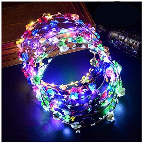 Led Flower Wreath, 12 UNIDS Flores Diadema LED Accesorios para el cabello Banda para el cabello...