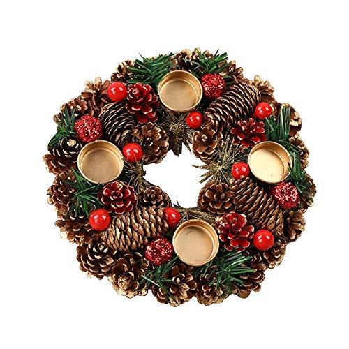 Corona de Navidad Garland Candlestick Pine Cone Berry Forest Decoración de Navidad rústica...