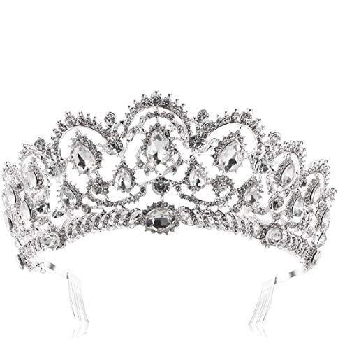 HerZii novia Princesa Cristal Austríaco Tiara Boda Rhinestone Corona velo accesorio para el pelo...