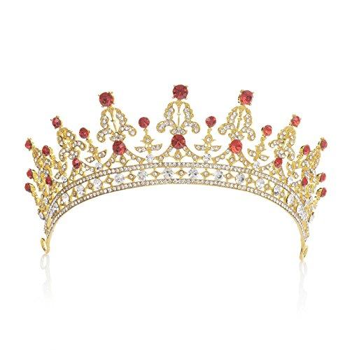 SWEETV Vendimia Real Boda Fiesta Prom Tiara Diadema Corona CZ Cristal Nupcial Tocado, Dorado+Rojo...