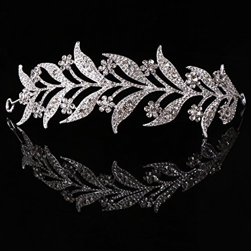 SimpleLife Leaf Tiara Headband, Headpiece Medieval– Leaf Simulado Pearl Diadema Cabello Tiara...