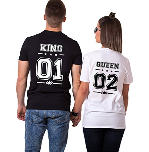 Pareja Camisetas King Shirts de Manga Corta T-Shirt 100% Algodón Impresión 01 2 Piezas Rey Reina...