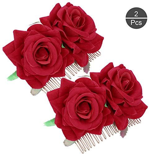 OOTSR 2 piezas de pinza de pelo flor rosa, rosa roja horquilla para mujeres niñas boda accesorios...