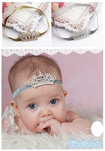 Tikwisdom, paquete de 2 cintas para el pelo con diseño de princesa noble, corona de cristal, para...