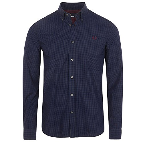 Fred Perry FP Micro Gingham Shirt Camisa, Azul (Medieval Blue), XXL para Hombre