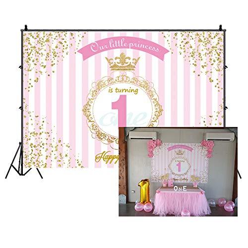Cassisy 3x2m Vinilo 1er cumpleaños Telon de Fondo Feliz cumpleaños Princesa Crown Wallpaper Rayas...