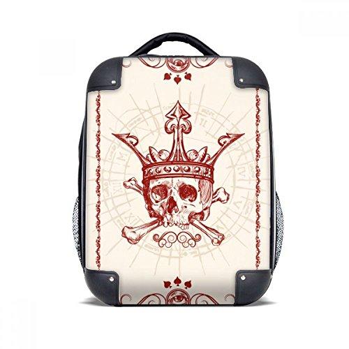 DIYthinker Corazones Pica roja Corona Esqueleto Poker Caso de la Tarjeta de Transporte para Hombro...