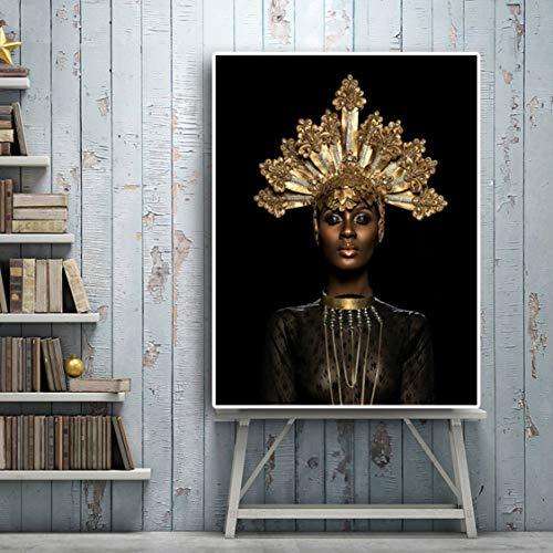 Danjiao Mujeres Africanas Negras Corona Dorada Impresión Impermeable Lienzo Pintura Arte De La...
