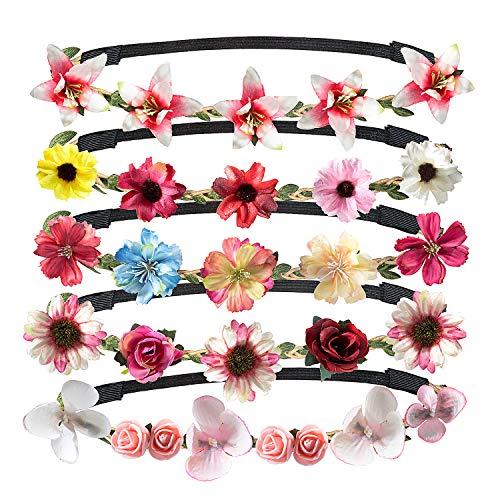 Jolintek 5 Piezas Multicolor Corona de Flor Venda de Pelo Redondo Coronas Flores Para Mujer Niña...