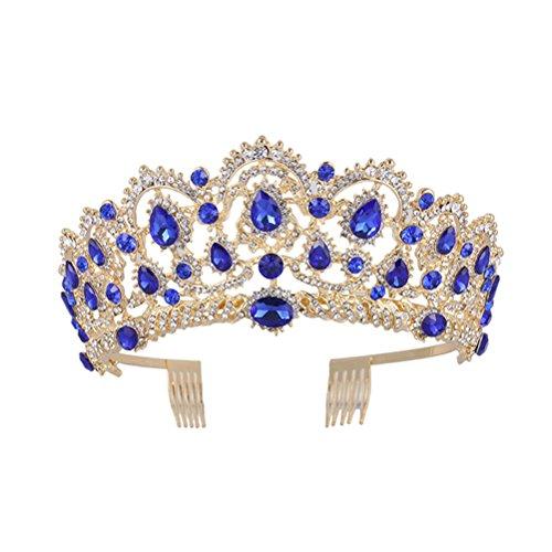 Frcolor Corona de Reina, Corona de Cristal Rhinestone de Venda de Vendimia, Tiaras de Boda para...
