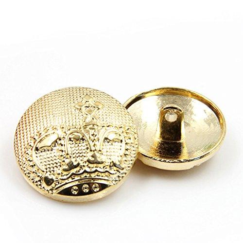 Pack de 10botones de metal dorados con diseño de corona a la moda para chaquetas, dorado, 18 mm