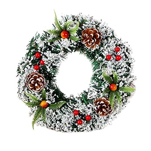 NUOBESTY Christmas Door Wreath Frosted Christmas Wreath with Pine Cones Holly Berries 20cm
