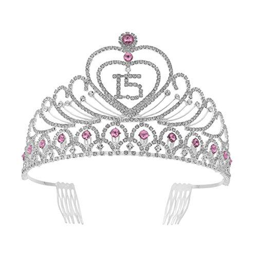 Frcolor Corona Cumpleaños 15 Años Diadema Cumpleaños Mujer Tiara Cristal con Peines (Plata Rosa)