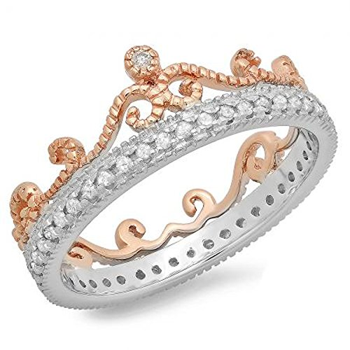 Anillo de eternidad de oro de 14 quilates de 0,33 quilates con diamante de corte redondo de 14...