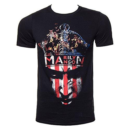 Camiseta de manga corta corona de Marilyn Manson (Negro)