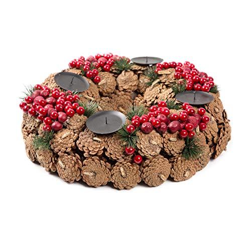 Small-Preis - Corona de Adviento XL de piñas y Bayas (46 cm de diámetro, 42 cm de Altura)