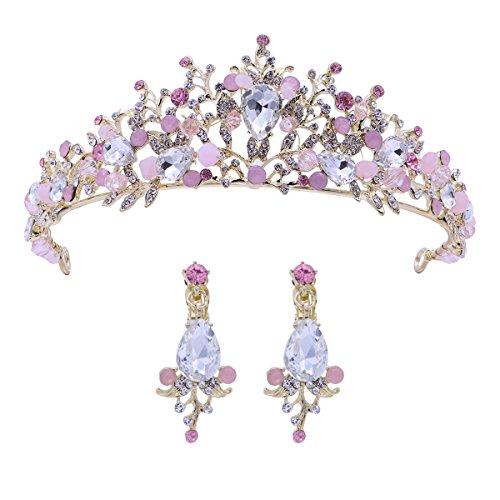 Frcolor Tiara de la boda y corona flor de diamantes de imitación Princesa de la novia corona con...