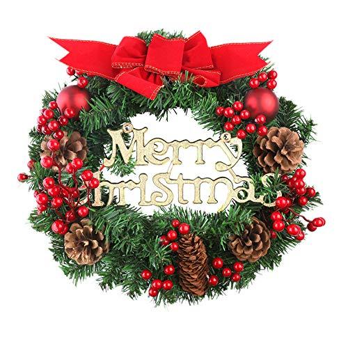 Xiangmall Corona de Navidad Piñas Naturales Bayas Rojas Artificiales Arcos Bolas de Navidad...