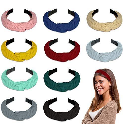 Winpok 10 paquetes de diademas para mujeres, diademas para mujeres de punto bandas para el pelo de...