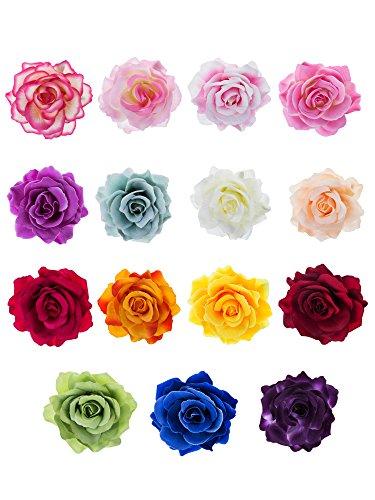 15 Piezas Pinzas de Pelo de Flor Rosa Clips de Pelo de Flor Hebillas de Pelo de Flor