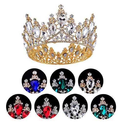 Lurrose 1pc Barroco Redondo Dorado Princesa Reina Rhinestone Corona (Color aleatorio) nuevo