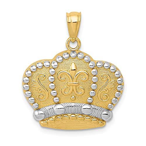 Colgante de oro amarillo de 14 quilates y corona de rodio