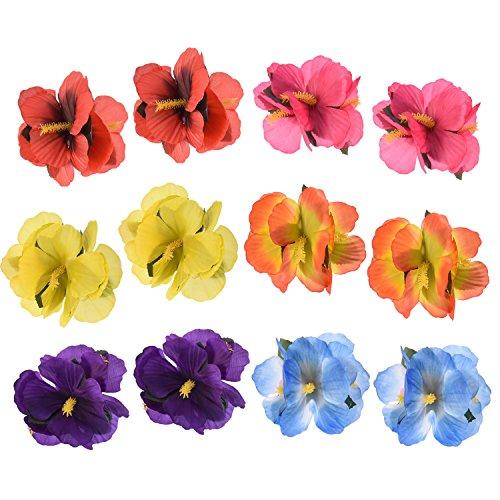 Sumind Pinzas Hawaianas de Flores de Pelo Clips de Pelo para Suministros de Decoración de Fiesta de...